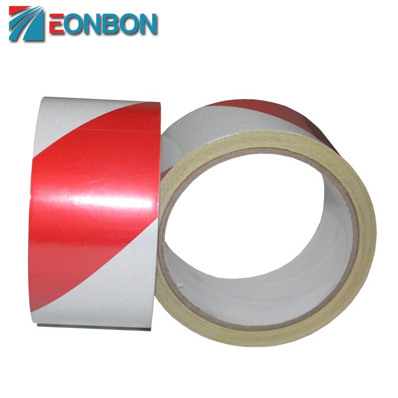 High Visibility Red White Road Warning Reflective Adhesive Tape For Safefy 5CM X 10M ...