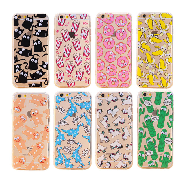 e042557a782 New For Coque iPhone 7 Movetive Eyes Black Cat Banana Popcorn PC Funda Case  For Apple iPhone 6 6S 7 Plus 5S SE Para Cove