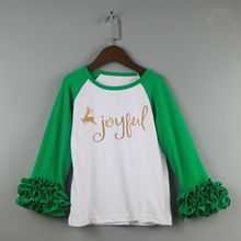 Christmas T shirts children icing ruffles shirts Christmas glitter tee shirts wholesale ruffle icing raglan long
