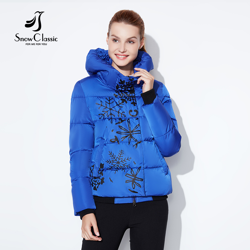 Snowclassic regular models lady printing casual fashion cotton zipper plus button asymmetrical design European style winter warm