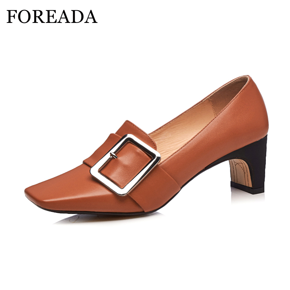 FOREADA Shoes Women Pumps Genuine Leather High Heels Shoes Strange High Heels Casual Square Toe Slip On Spring 2018 Shoes Female nayiduyun women genuine leather wedge high heel pumps platform creepers round toe slip on casual shoes boots wedge sneakers