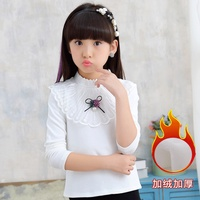 New Children Winter Autumn Fashion Turtleneck Beading Sequins Lace White T Shirt Tops Kids Baby Girl's Sweat Bottom Shirts Tees