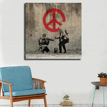 цены на Banksy's Soldiers Painting Peace Wall Art Canvas Poster Print Canvas Painting Decorative Picture For Modern Bedroom Home Decor  в интернет-магазинах