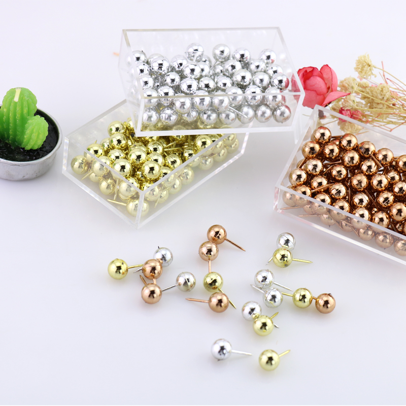 TUTU 70pcs/set gold sliver color PushPins Assorted Paper Map Cork Board Capped Headed Fixing Thumb Tacks Pin Office School H0033