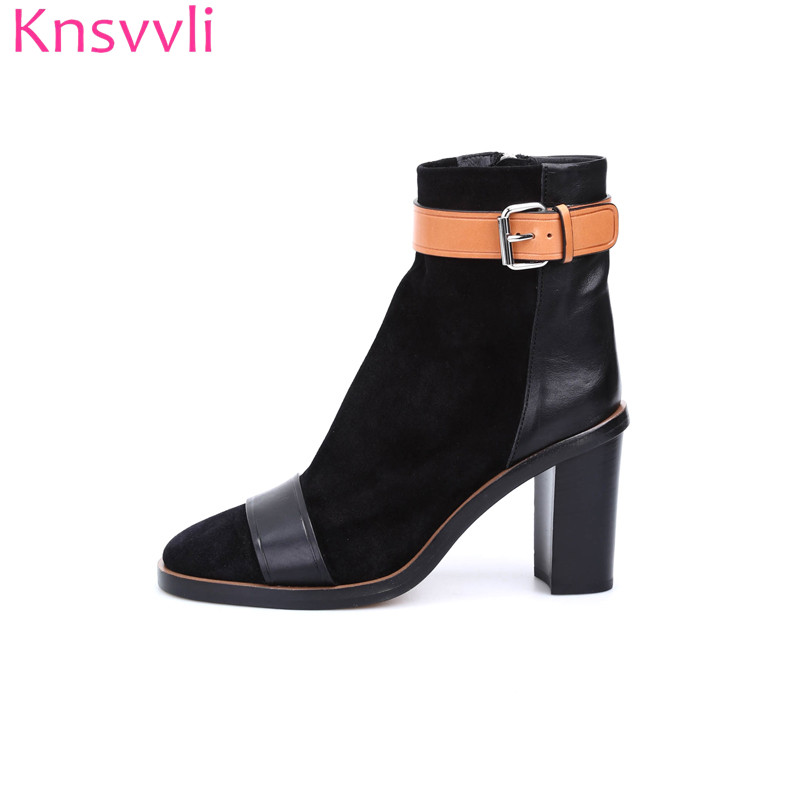 Knsvvli new style chunky high heel ankle boots women kid suede mixed color fashion martin boots belt buckle women booties 2018 british style suede and chunky heel design women s ankle boots