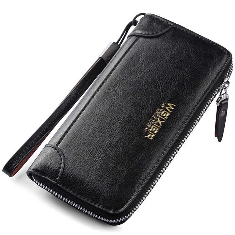 Portefeuilles homme Long sac à main homme sac à main avec fermeture éclair Long embrayage Vintage hommes portefeuille argent poche sac portefeuille homme MWS267-4
