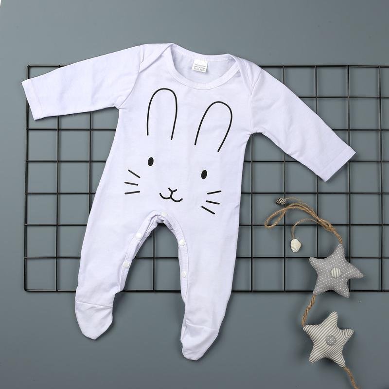 2017 Baby Boy Clothes Autumn Newborn Cotton Long Sleeve Rabbit Printed Romper Jumpsuit Baby Romper Baby Winter Clothing Suit