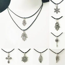 Vintage Punk Silver Color Necklace Unique Hollow Alloy Pendant Necklace For Man Women Trendy Neck Accessories Fashion Jewelry(China)
