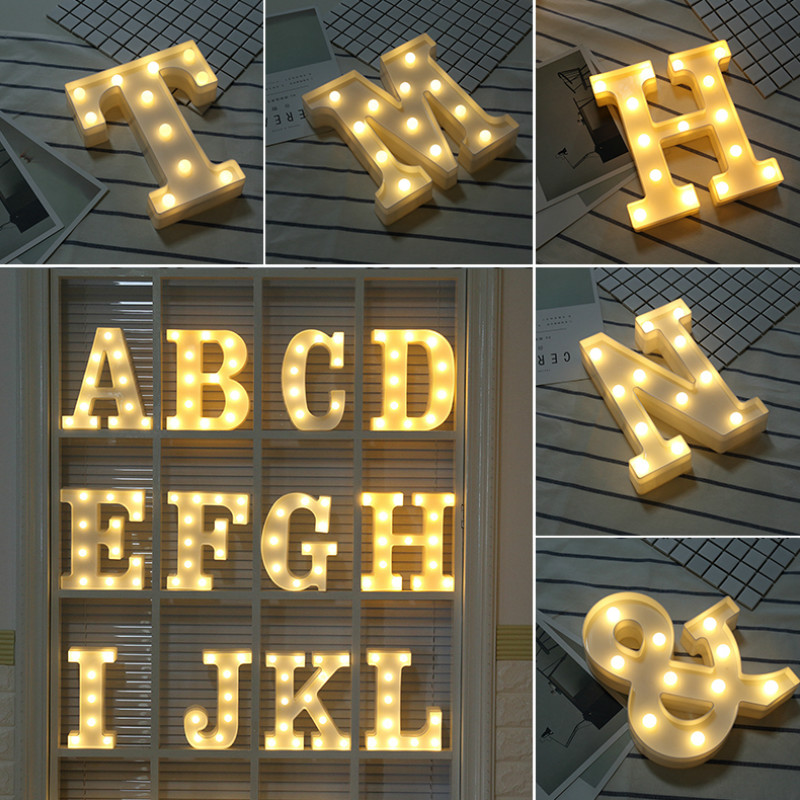 Fun White Plastic Alphabet LED Night Light Marquee Sign Alphabet Lights Lamp Home Club Outdoor Indoor Wall Decoration Stand Hang
