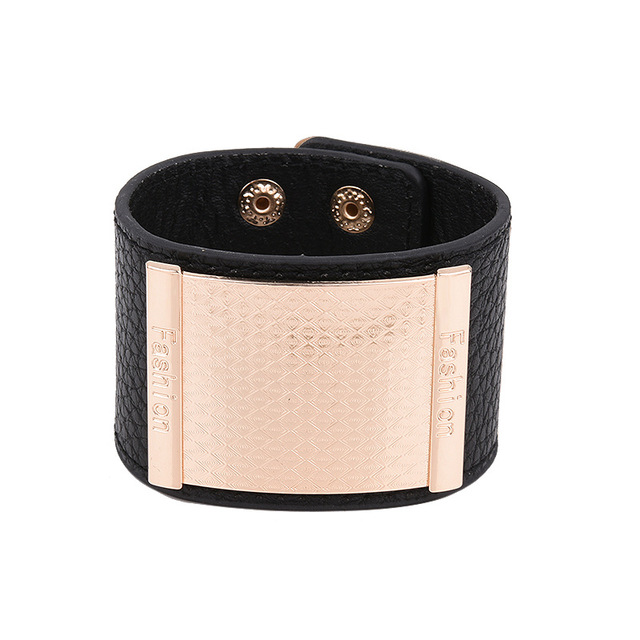 Gorgeous Women S Leather Cuff Bracelets 4 Colors Gold Square Blank Charm Wrap For