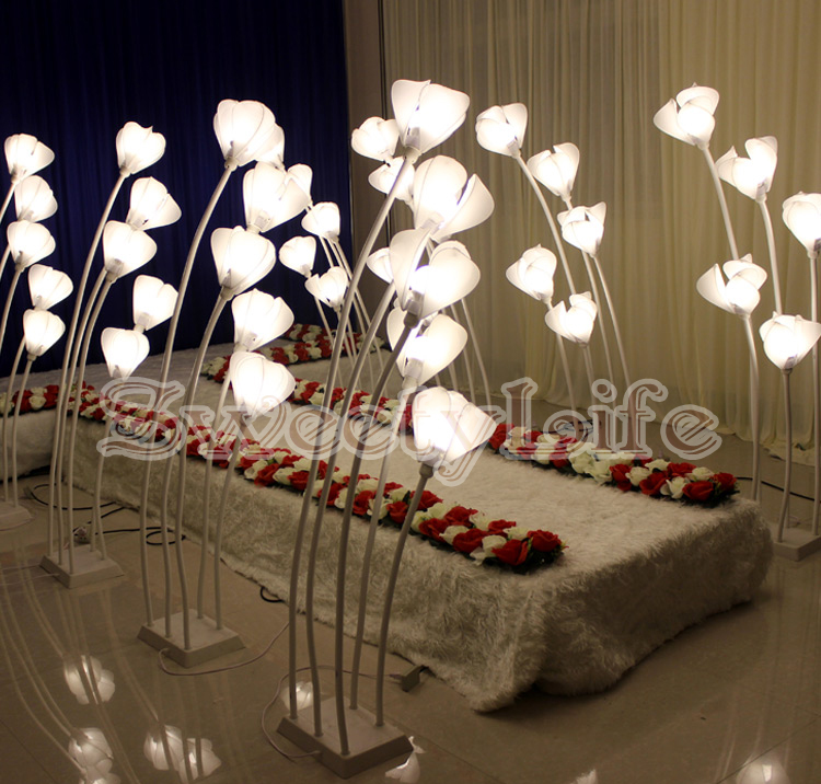 Flower style Wedding Aisle Stand Led Lights Road Lead Roman Pillar Wedding Decoration 10sets/lot