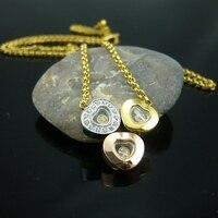 Лидер продаж Три прозрачный сердце с Кристалл желтого золота Цвет Титан Сталь Цепочки и ожерелья