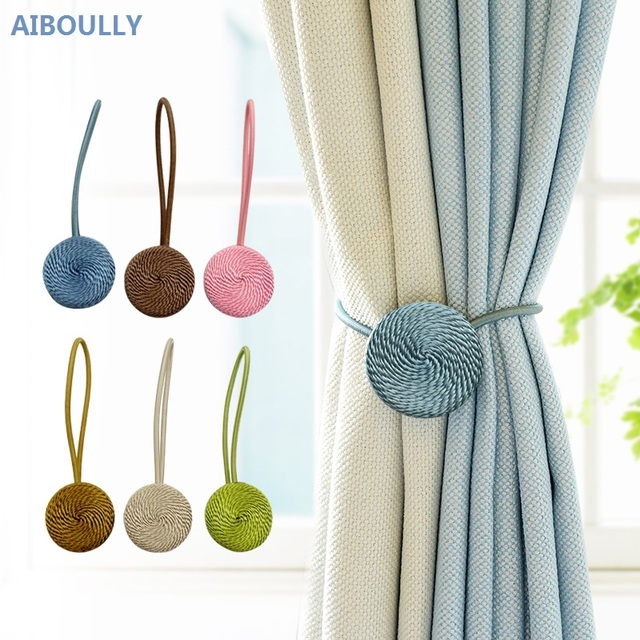 AIBOULLY Curtain Buckles Europe Style Magnet Curtains Tieback Magnetic Holder Strap Decoration Accessories