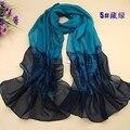 Новый 2015 весной и осенью женщин жоржет шифон шарфы мода dot цветочный узор тонкий длинный шарф шаль cachecol оптовая