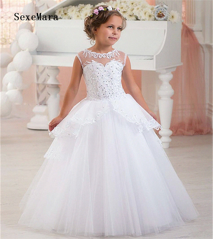 New Girls Dresses White Lace First Communion Dress Pageant Gown Beaded Lace Flower Girl Dress for Wedding Girls Birthday Gown ivory white girls first communion gown handmade appliques lace girls birthday gown flower girl dress for wedding party any size