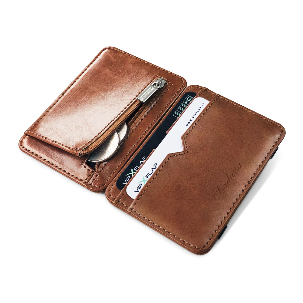 2021 New Fashion Man Small Leather Magic Wallet With Coin Pocket Men's Mini Purse Money Bag Credit Card Holder Clip For Cash