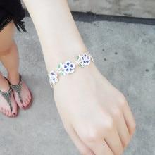999 Silver Bracelet Flowers Hand Chain Cloisonne Enamel Jewelry Charm Chinese Handmade Ethnic Love Bangle Women Blue Bangles cloisonne hand painted enamel color european