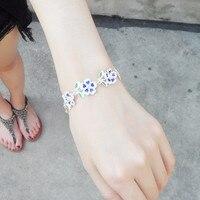 999 Silver Bracelet Flowers Hand Chain Cloisonne Enamel Jewelry Charm Chinese Handmade Ethnic Love Bangle Women Blue Bangles