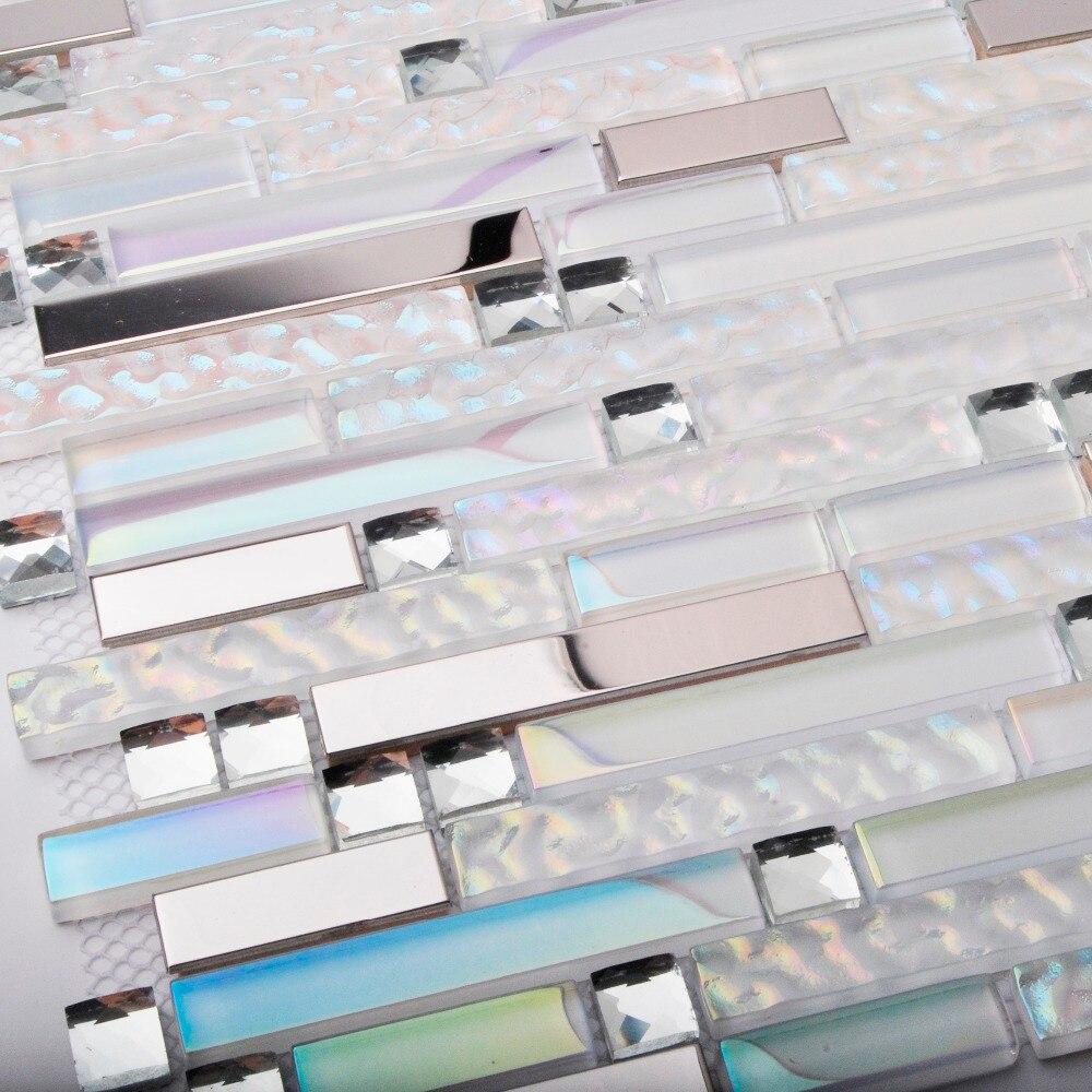 Home decor glass tiles white interlocking striped diamond white ...