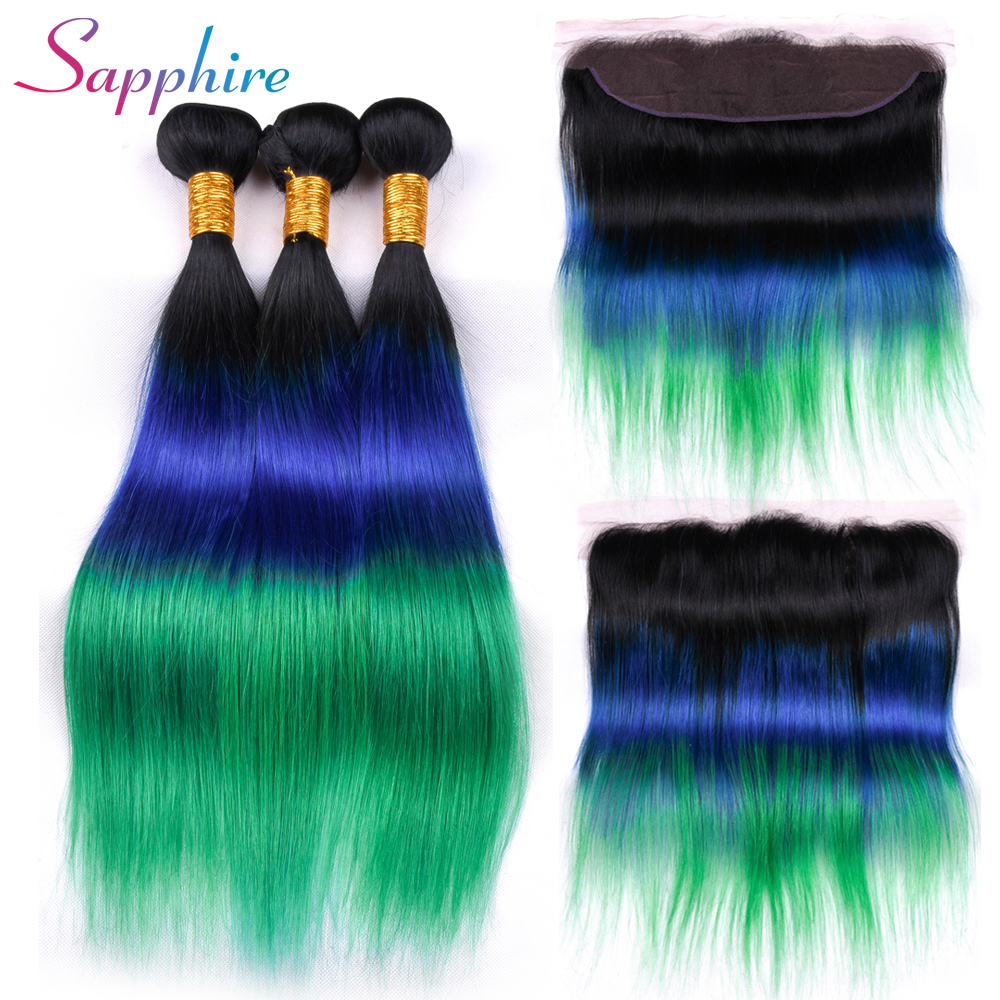 Sapphire Hair Peruvian 3 Bundles With Lace Frontal Closure Remy Human Hair Ombre Color 13*4 Lace Frontal With Bundles
