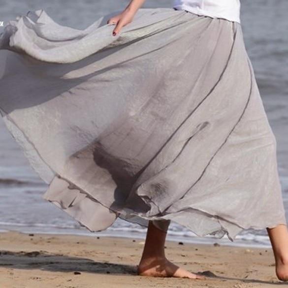 New Maxi Long Bohemian Restore Women Shinning Princess Chiffon Long Skirt 7Colors dropshipping 18
