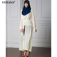 Women Long Islam Muslim dresses 2017 Robe Yellow Color Long Sleeve Loose Chiffon Dress Islamic Abaya Clothing Robe With Belt