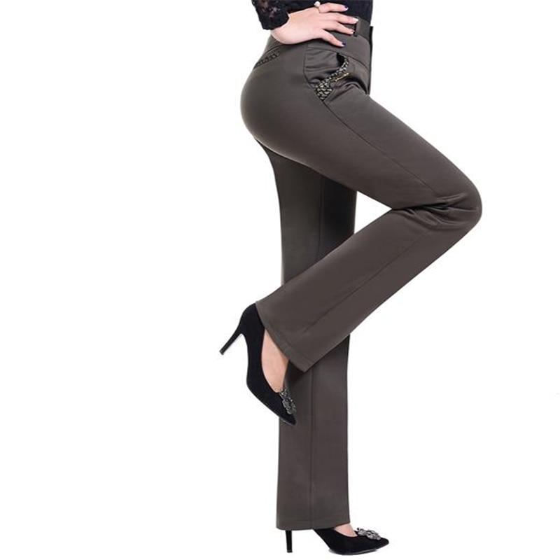 Woman Autumn Plus Size Pants Women Straight Trousers Female High Stretch Capris Pantalon Lady Winter Thick Oversized Pantalones