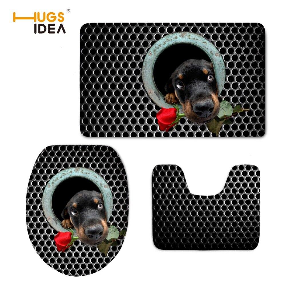 HUGSIDEA Black Animal Dog Toilet Seat Cover Non Slip Bathroom Carpet Warmer Cloth Toilet Lid Mat Washable Closestool Pad toilet lid toilet seat cover toilet seat - title=