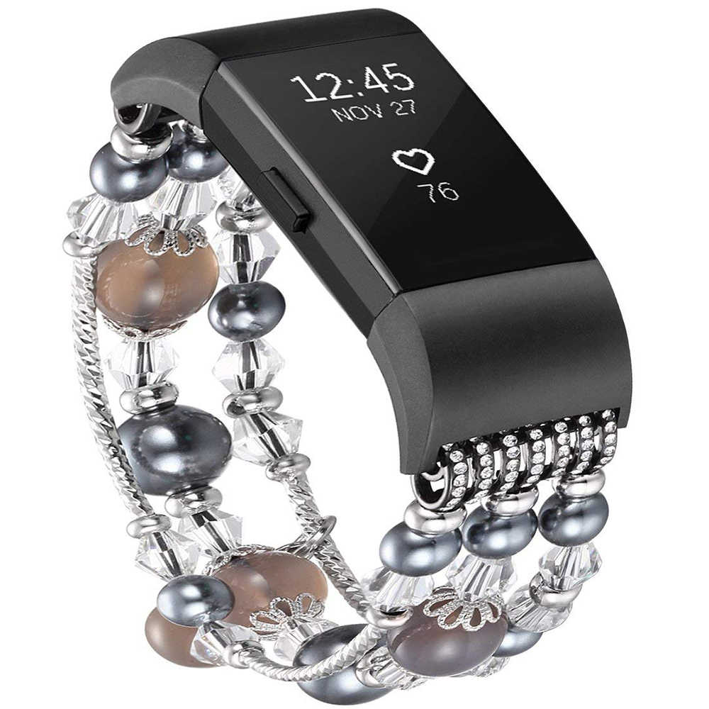 Bracelet Style bijoux FOLOME pour Fitbit Charge 2 perle de cristal Bracelet de montre fait à la main en Agate naturelle Bracelet élastique extensible