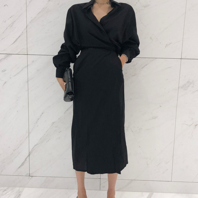 CHICEVER Solid High Waist Lace Up Dress For Women Hem Split Lantern Sleeve Slim Summer Dresses Female Clothes Fashion Korean New 6