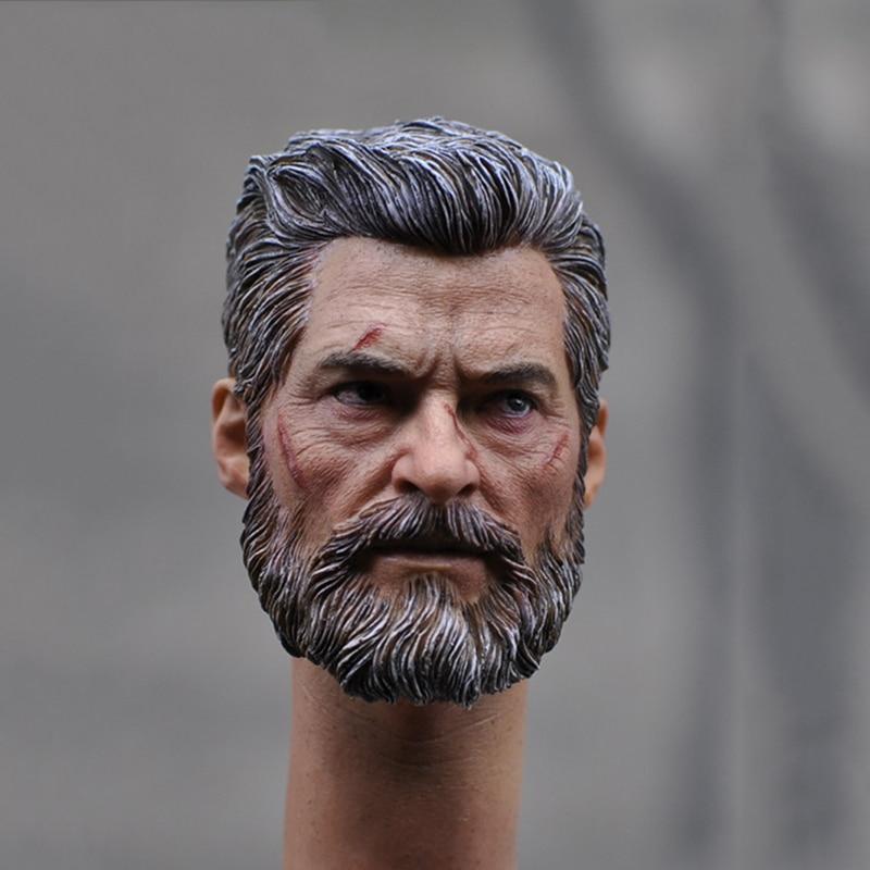 1/6 Male Head Sculpt Wolverine Logan Battle Damage Head model fit 12 Action Figures