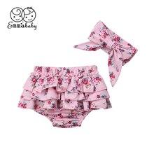 Шорты для новорожденных девочек на возраст от 3 до 24 месяцев, детские штаны трусы с оборками и фруктами и цветочным рисунком штаны, PP, шаровары, повязка на голову, комплект одежды из 2 предметов