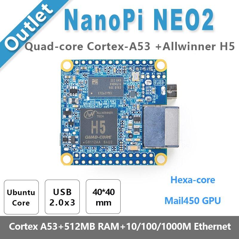 NanoPi NEO2 Allwinner H5,64 Bit High-performance,Quad-Core A53 Demo Board, Running UbuntuCore friendlyarm nanopi neo2 demo board 512mb 1gb ram heatsink 5v 3a power adapter usb to ttl 8gb card usb cable nanopi neo2 kit e b