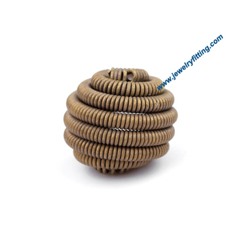All kinds of jewelry findings supplier Raw brass colowire twist feature connector beads handmade16mm