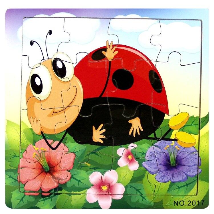 16 шт. деревянные головоломки окружающей нетоксичный мультфильм детства игрушки Животные Божья коровка