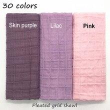 Neue 30 farben Plissee grid Plain elastische Schal Mode Schal Frauen Kinder Feste Schals geprägte muslimischen hijabs mode schals