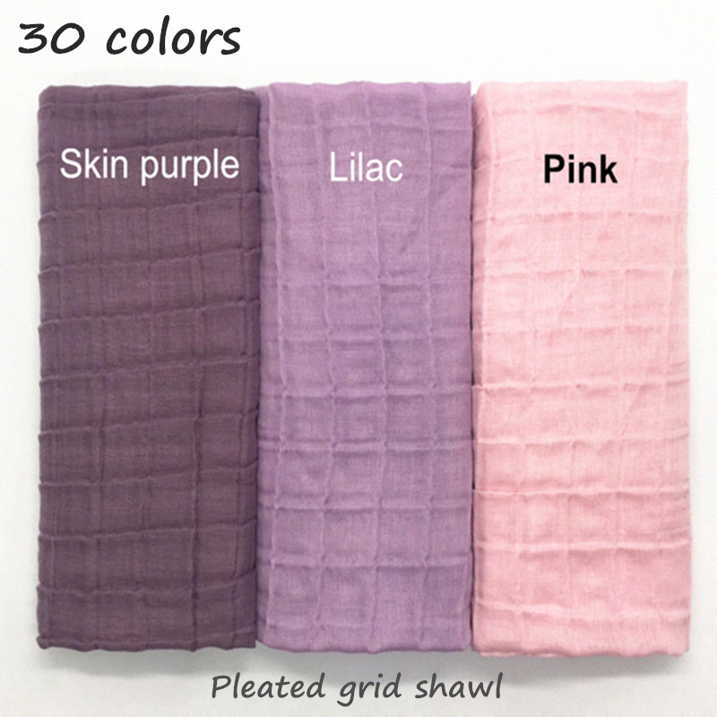 New 30 Colors Pleated Grid Plain Elastic Scarf Fashion Shawl Women Children Solid Scarfs Embossed Muslim Hijabs Fashion Scarves