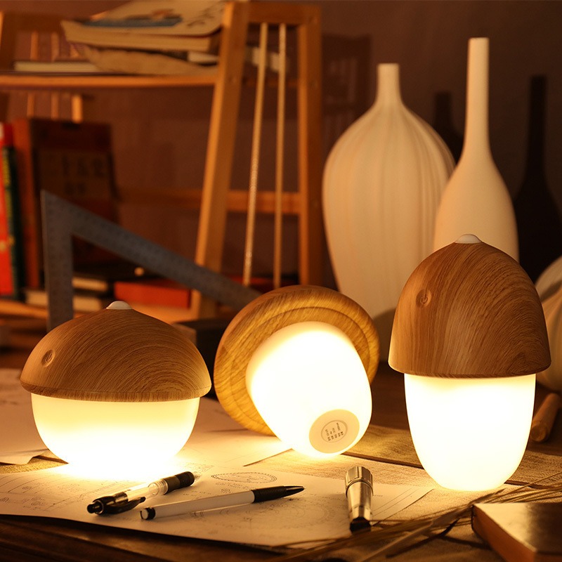 Creative Desk Lamp USB Rechargeable Mushroom Olive Acorn Dimmable LED Light Touch Switch Reading Table Lamps Night Light led reading table lamp modern creative touch switch 5500k rechargeable night light octagon desk lamps usb learning