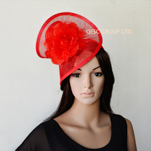 40dbdfd606e35 NEW Wholesale RED Elegant sinamay fascinator hat with silk flower for  wedding