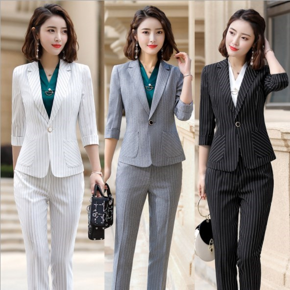 Grey White Black Elegant Striped Office Pants Suits for Women Summer Blazer Pants Ladies Work Pant Suit 2 Piece Pantsuit Outfits