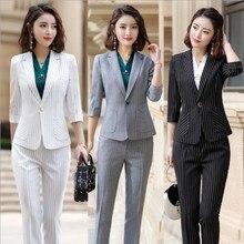 Grey White Black Elegant Striped Office Pants Suits for Women Summer Blazer Pants Ladies Work Pant Suit 2 Piece Pantsuit Outfits