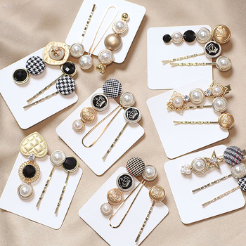 Houndstooth Button Imitiation Pearl Hair Clips Metal Heart Star Crystal Hairpin Barrett