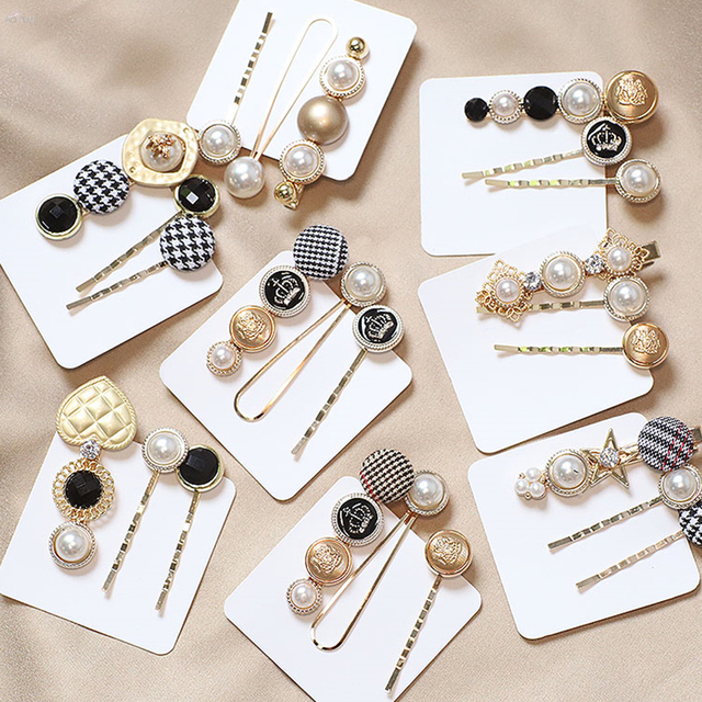 AOMU 1SET Japan Fashion Hair Accessories Houndstooth Button Imitiation Pearl Hair Clips Metal Heart Star Crystal Hairpin Barrett