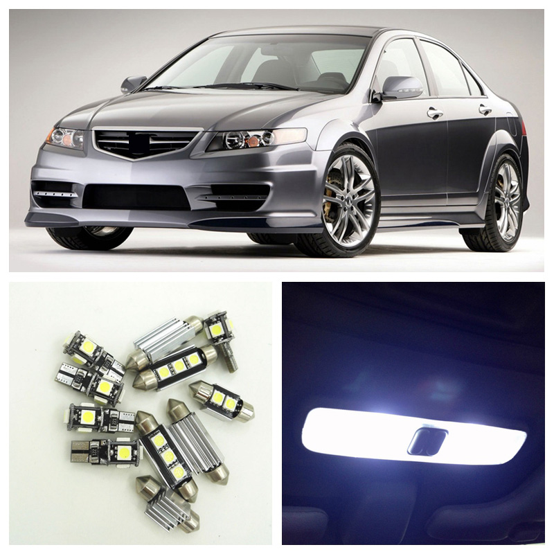 10pcs White Car LED Light Bulbs Interior Package Kit For 2004 2005 2006 <font><b>2007</b></font> 2008 <font><b>Acura</b></font> <font><b>TSX</b></font> Map Dome Trunk Step Courtesy Lamp image