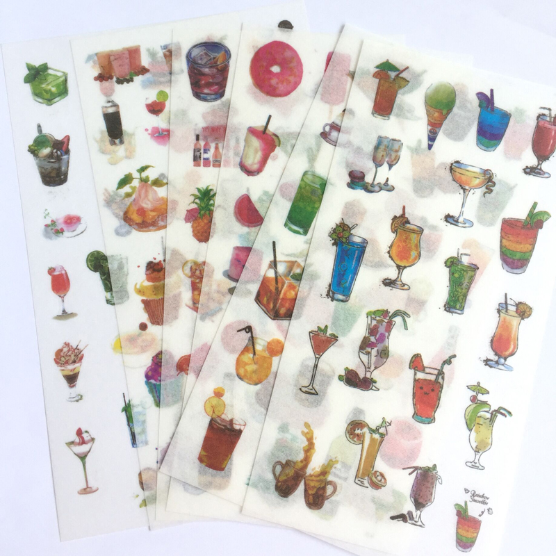 6 Sheets/ Pack Cool Summer Drinks Adhesive Stickers Decorative Album Diary Stick Label Paper Hand Account Decor