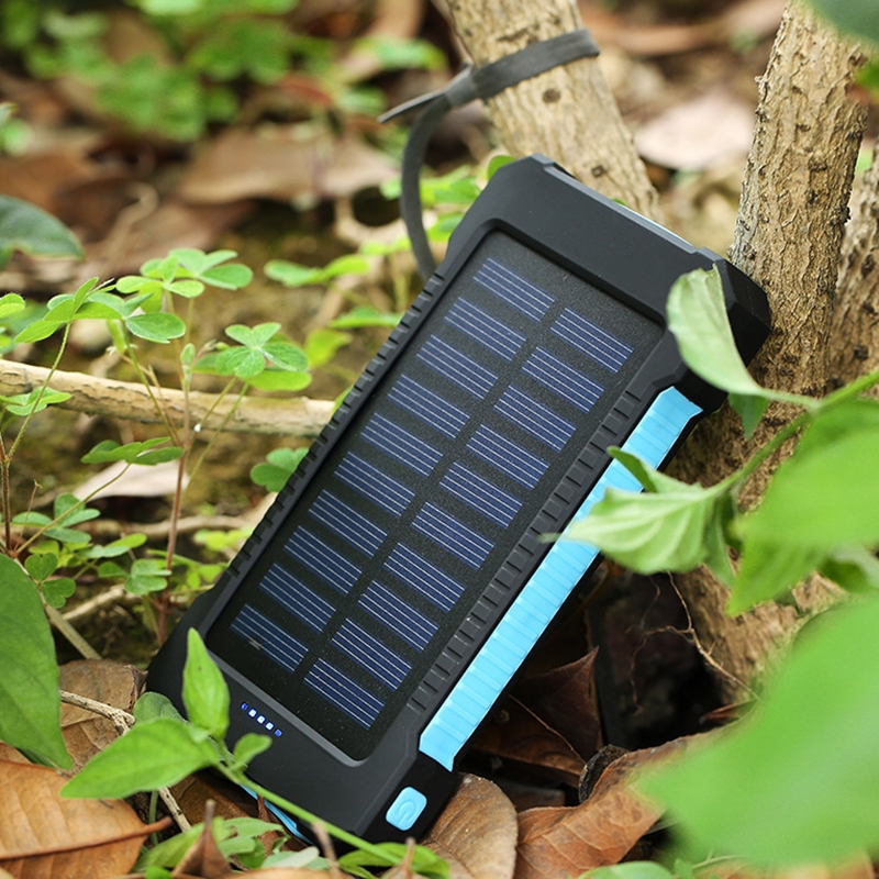Cncool Solar Power Bank Waterproof 10000mAh Charger Powerbank For Smartphone With LED Light 2 USB Ports External