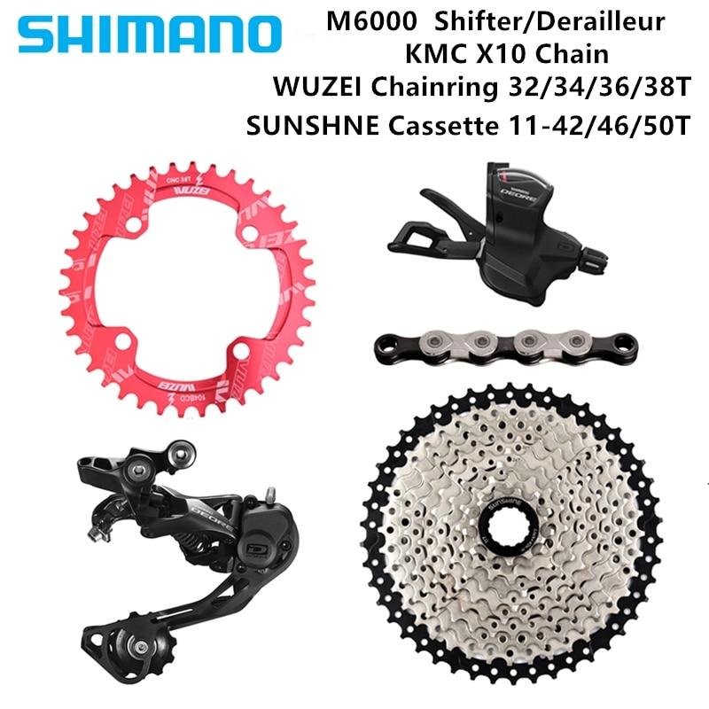 Shimano DEORE M6000 1X10S bike Derailleurs 42T 46T 50T SUNSHINE Cassette Chainring KMC X10 Chain MTB