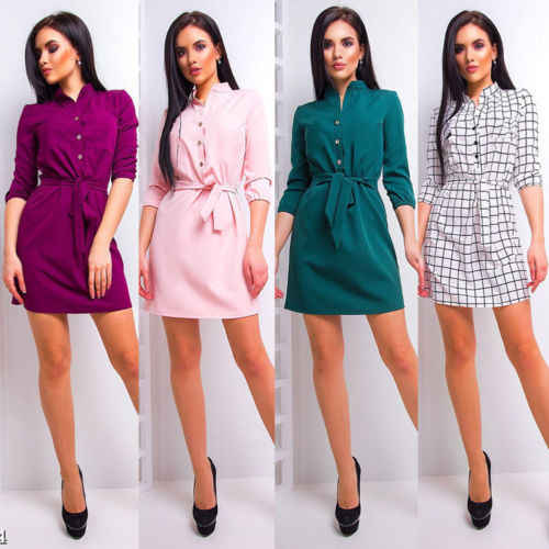 New Women Stand Collar Bandage Loose Casual Dress Elegant Waist Band Beach Party Dresses