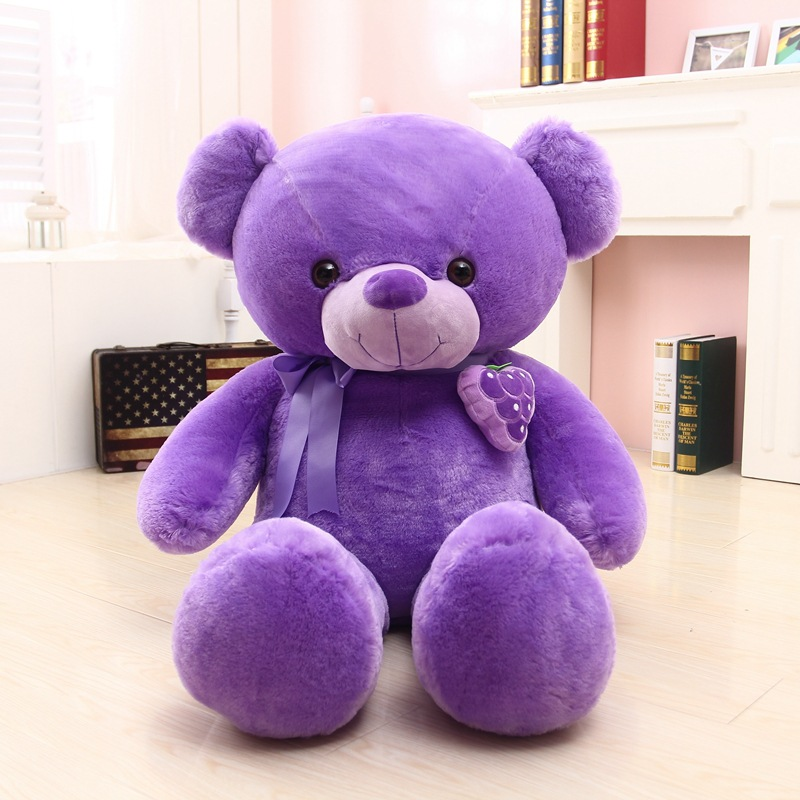 larggest size 120cm purple teddy bear plush toy fruit grape bear doll hugging pillow surprised birthday gift w5277 stuffed animal 120 cm cute love rabbit plush toy pink or purple floral love rabbit soft doll gift w2226