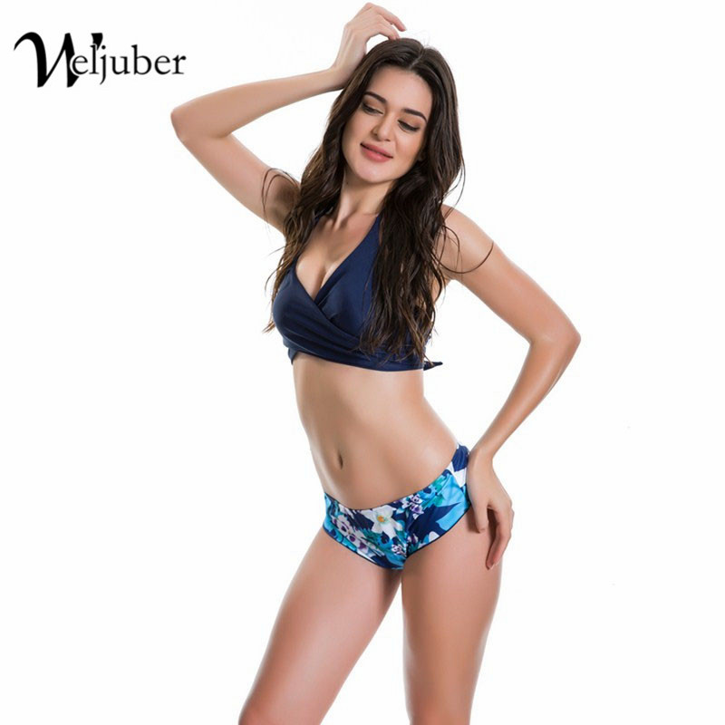 Women Bikini Set 2017 New Bandage Swiming Print Push Up Swimwear Padded Sexy Female Swimsuit Bathing Suit Brazilian Biquini